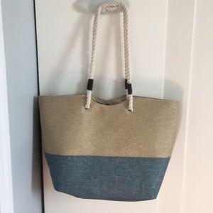 LARGE ROPE AND SEQUIN SUMMER TOTE